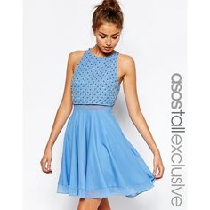 ASOS TALL Skater Dress with Embellished Grid ($106) ❤ liked on Polyvore featuring dresses, blue, round neck dress, blue skater dress, chiffon dress, asos and embellished chiffon dress