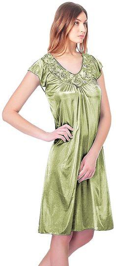 f06bfadf3a Ezi Women s Satin Silk Roses Nightgown
