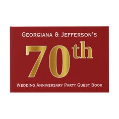 Shop Dark Red, Faux Gold Wedding Anniversary Party Guest Book created by AponxDesigns. Personalize it with photos & text or purchase as is! 70th Birthday Parties, Birthday Party Invitations, Card Birthday, Birthday Gifts, Card Invitation, Custom Invitations, Wedding Anniversary Celebration, Party Guests, Name Cards