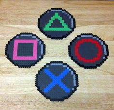 PlayStation button coasters hama beads  by RoninEclipse2G on Posavasos @deviantART