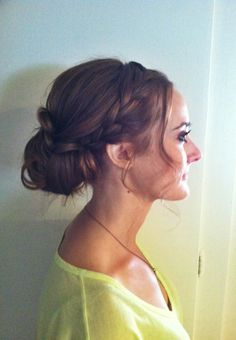 Wedding hair updo. Messy frenchbraid and a messy bun