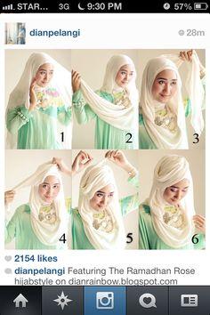 Hijab Tutorial by the very talented indonesian dian pelangi. Go follow her on instagram @Dian Tjandrawinata Tjandrawinata Tjandrawinata Pelangi #hijab #hijabtutorial #hijabfashion #muslimah #scarf #hijabi #tutorial #diy