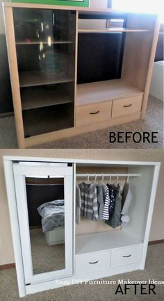 DIY - Entertainment Center Turned Into Kids Closet Armoire (Furniture Makeover) . - mct DIY - Entertainment Center Turned Into Kids Closet Armoire (Furniture Makeover) . Refurbished Furniture, Repurposed Furniture, Bedroom Furniture, Painted Furniture, Diy Bedroom, Vintage Furniture, Trendy Bedroom, Diy Furniture Repurpose, Wood Bedroom