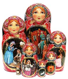 Characters of Cinderella story written by Brothers Grimm in 1812 are hand painted on this stunning 7 piece nesting doll. One-of-a-kind Russian babushka.