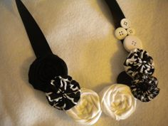 Black and White Fabric Necklace by ForAllGirls on Etsy, $15.00