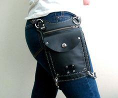 Road Warrior Unisex Black Leather Travel Bag Hip or Shoulder. $220.00, via Etsy.
