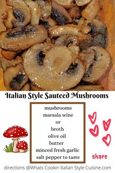 A fabulous side dish, topping or in your favorite recipes and how to saute mushrooms Italian style. Best Side Dishes, Healthy Side Dishes, Vegetable Side Dishes, Vegetable Recipes, Vegetarian Recipes, Side Dish Recipes, Easy Recipes, Dinner Recipes, Easy Cooking