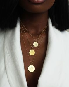 """Omi Woods on Instagram: """"Gold stars on a melanin sky. Shop our new coins on omiwoods.com now.  Model: @rechel._  #africanjewelry #caribbeanjewelry"""" Gold Jewelry, Jewelery, Coin Necklace, Necklaces, Lost Wax Casting, African Jewelry, Custom Metal, Gold Stars, Sky Shop"""