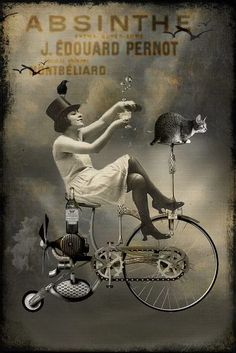 A Fine Art High Definition Vintage Absinthe 13 x 10 inch Liquor Aperitif Canvas Giclee Advertising Poster Print. Featuring A Girl on a Bicycle with a Cat on The Handlebars Watermark is Only on the Computer Image Not on Finished Product Canva. Pub Vintage, Vintage Cat, Poster Vintage, Old Posters, Absinthe, Foto Poster, Advertising Poster, Dieselpunk, Vintage Ads