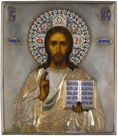 A parcel-gilt silver and cloisonné enamel icon of Christ Pantocrator, Semen Kazakov, Moscow, 1908-1917 | Lot | Sotheby's