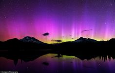 Stunning: The Aurora Borealis over Sparks Lake in Oregon was one of the stunning scenes captured by photographer Brad Goldpaint for his time-lapse project