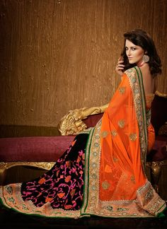 Lustrous Orange Diamond Work Net Designer Saree