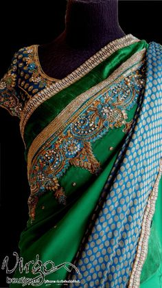 green zardosi work sari virgo boutique bangalore