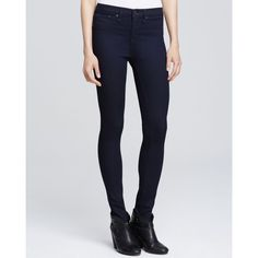 rag & bone/Jean High Rise Skinny Dark Wash Jeans in Indigo (370 BGN) ❤ liked on Polyvore