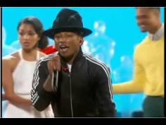 Pharrell Williams performs the song Happy from the movie Despicable Me 2 at the 2014 Oscars