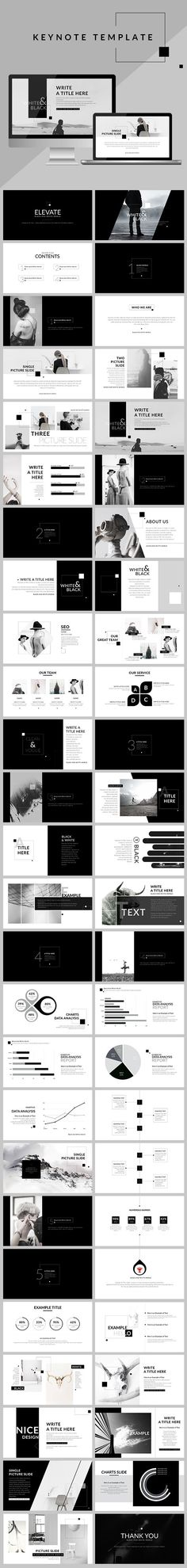 Black & White - Clean Keynote Template  #minimal #marketing #best • Click…