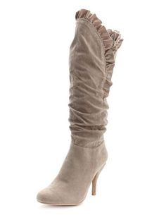 Ruffle-Trimmed Heel Boot: Charlotte Russe (I kinda like these!)