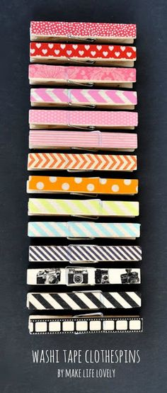 Make Life Lovely: Washi Tape Clothespins Tutorial