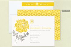 Red Peony Wedding Invitations in Lemon Chiffon