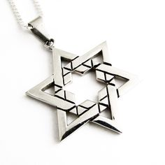 Silver Large Star of David Necklace More