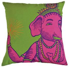 Bring some colorful, ethnic flair into your home with BOXHILL's Bazaar Pillow Collection. This lovely collection of pillows features the image of Ganesh, the Hindu god of wisdom and learning, who is considered to be a sign of good fortune. Shop all of our outdoor pillows at www.shopboxhill.com