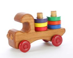 Our wooden stacker truck features six brightly colored removable wooden rings for teaching colors and hand-eye coordination. Made of locally-harvested Oregon alder and finished with non-toxic paints and food-grade mineral oil.