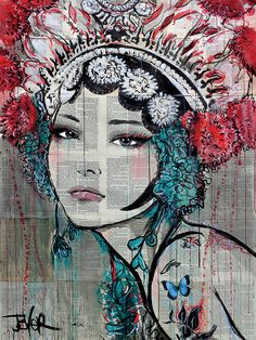 View LOUI JOVER's Artwork on Saatchi Art. Find art for sale at great prices from artists including Paintings, Photography, Sculpture, and Prints by Top Emerging Artists like LOUI JOVER. Art Geisha, Geisha Kunst, Art And Illustration, Journal D'art, Pop Art, L'art Du Portrait, Urbane Kunst, Newspaper Art, Poster Art