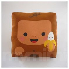 Decorative Pillow Mini Pillow Animal Toy Pillow  Happy by mymimi, $18.00