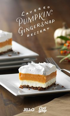 A tasty blend of vanilla pudding and pumpkin is layered with creamy whipped topping over a gingersnap cookie crust in this easy, yet elegant, dessert. Get started with JELL-O Vanilla Flavor Instant Pudding, COOL WHIP Whipped Topping, cream cheese, gingersnaps and a can of pumpkin. Wow everyone this Thanksgiving with Layered Pumpkin-Gingersnap Dessert!