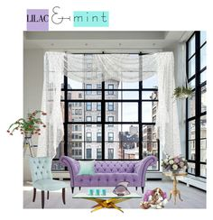 """Lilac and Mint"" by carolshistoricalgroup ❤ liked on Polyvore featuring interior, interiors, interior design, home, home decor, interior decorating, Pier 1 Imports, Home Decorators Collection, Lalique and Allstate Floral"