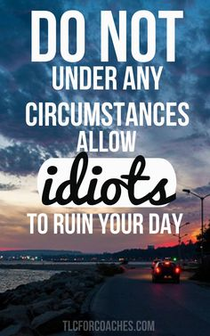 Do not under any circumstances allow idiots to ruin your day! Everyday Quotes, Up Quotes, Wise Quotes, Change Quotes, Quotes To Live By, Motivational Quotes, Funny Quotes, Inspirational Quotes, Qoutes