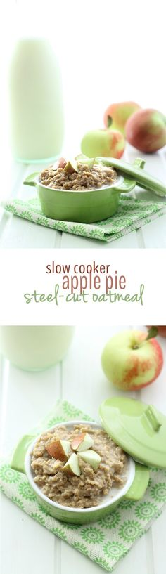Slow-Cooker Apple Pie Steel-Cut Oatmeal - an easy breakfast made from wholesome ingredients but tastes like apple pie! Perfect for a cool Fall morning.