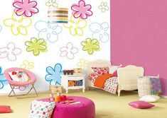 colorful kids bedroom with flowers on wall