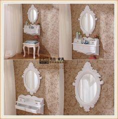 Mini tocador montado en la pared, con estilo europeo y espejo francés adecuado para pequeño apartamento