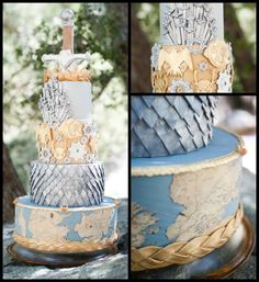 This Game of Thrones wedding cake takes the cake. It features Westeros, dragon scales, house sigils, and the Iron Throne. Is this your geeky dream cake? Game Of Thrones Kuchen, Game Of Thrones Cake, Game Thrones, Beautiful Cakes, Amazing Cakes, Pretty Cakes, Got Party, Wedding Cake Inspiration, Wedding Ideas