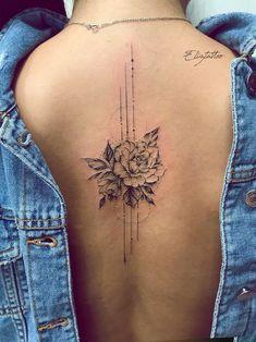 Floral Back Tattoos, Flower Spine Tattoos, Girl Back Tattoos, Ribbon Tattoos, Mini Tattoos, Body Art Tattoos, Small Tattoos, Cool Tattoos, Spine Tattoos For Women