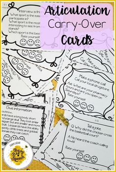 Articulation carry-over cards for speech therapy. Fun activities for kids to get out of the classroom and practicing their sounds! Articulation Therapy, Articulation Activities, Speech Therapy Activities, Language Activities, Fun Activities, English Activities, Activity Ideas, Speech Pathology, Speech Language Pathology