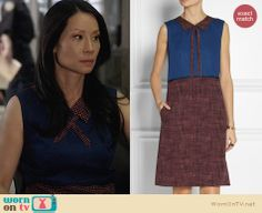 Joan's blue dress with burgundy polka dot collar and skirt on Elementary. Outfit Details: http://wornontv.net/27185 #Elementary #fashion