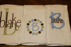Set of three monogrammed/appliqued burp by annabeesdesign on Etsy