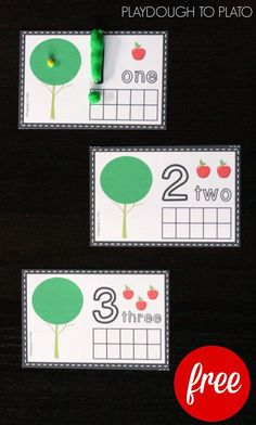 Pre-K / FREE Apple Playdough Mats. Hands-on counting, number recognition and fine motor activity in one. Preschool Learning, Teaching Math, Preschool Activities, Playdough To Plato, Numbers Preschool, Preschool Apples, Teaching Numbers, Kindergarten Centers, Number Sense Kindergarten