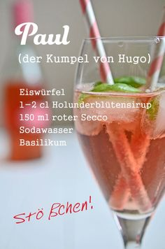 Cocktail rezept paul der kumpel von hugo mit holunderbltensirup basilikum und rotem secco rheintopf com top 10 summer cocktails to try this summer Summer Cocktails, Cocktail Drinks, Cocktail Recipes, Alcoholic Drinks, Basil Cocktail, Drink Recipes, Hugo Cocktail, Snacks Für Party, Party Drinks