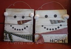 Snowman Pallet Wood Sign! Door Hanger, Christmas Decor, Winter Decor, Snow Place Like Home, Square Snowman, Snowball, Let It Snow, Rustic