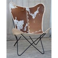 PIN 5 Hand made hand crafted Cow skin (syntetic) BUTTERFLY Chair.