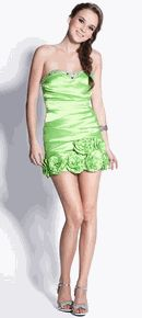 #2758nox--Lime Strapless Embellished Bust Pleated Body Fitting Short Prom Dress in 4 Colors XS to 2XL