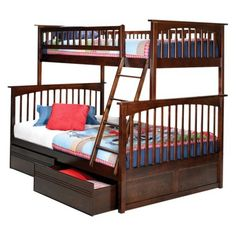Columbia Twin Over Full Bunk Bed with Under-Bed Drawers - Antique Walnut.Opens in a new window