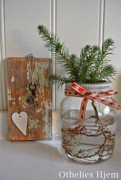 Othelies Hjem: Jul i ett Norgesglass Vase, Christmas, Diy, Home Decor, Do It Yourself, Homemade Home Decor, Navidad, Bricolage, Weihnachten