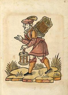 1500 French: The Lantern Merchant with a large wicker basket strapped to his shoulders selling lanterns and candles