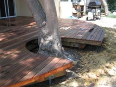 deck around tree, protect roots.leave room for tree to grow. Landscaping Around House, Landscaping With Rocks, Backyard Landscaping, Backyard Ideas, Backyard Pergola, Pergola Ideas, Outdoor Rooms, Outdoor Living, Outdoor Decor