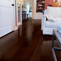 This 'Maple Soft Scraped Cognac Locking Hardwood Flooring' has a unique visual found only in rich maple flooring.