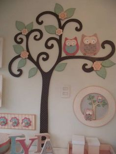 Painel Decoração Arvore com Corujas | Arte Vivi | 22E041 - Elo7